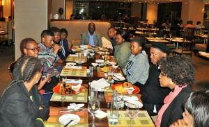 SHARING EXPERIENCES: The SAMSA sponsored CPUT students taking the opportunity to share their views and experiences at CPUT with SAMSA's CEM management during dinner.