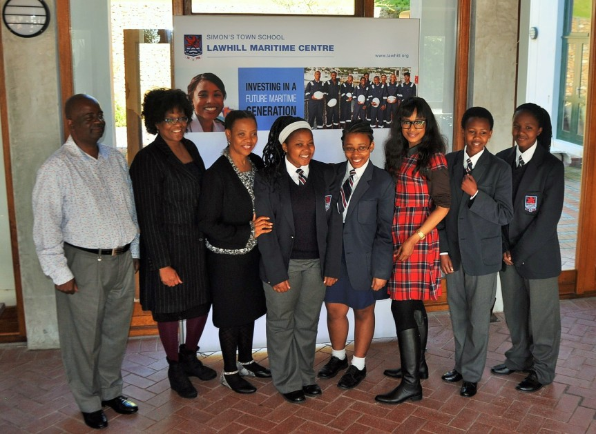 EDUCATING SAILORS: SAMSA Centre for Maritime Excellence executive manager Ms. Sindiswa Nhlumayo (third from Right), and (From Left) SAMSA skills development manager John Phiri; Centre for Maritime Excellence executive PA, Charity Bodiba and SAMSA human resources executive manager Ms. Lesego Mashishi with Lawhill Maritime Centre students sponsored by SAMSA during a visit in August 2015. SAMSA is to increase the number of youths at high school for the 2016 school year.
