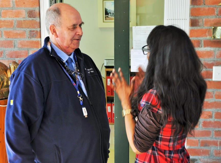 CHARTING THE FUTURE: (From Left) Lawhill Maritime Cente head Mr. Brian Ingpen having a lively chat with SAMSA Centre for Maritime Excellence executive manager Ms. Sindiswa Nhlumayo in Simonstown recently