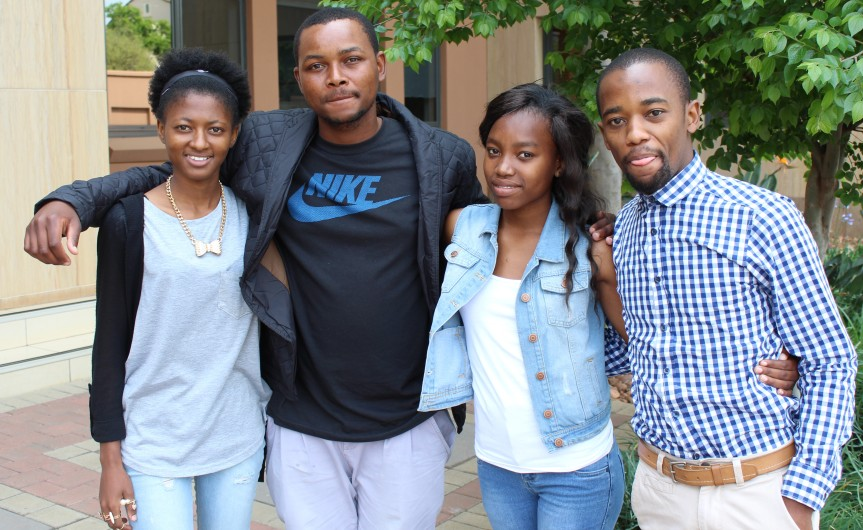 CALLING ON HANOI: Four South African youths jetting off from O.R Tambo International Airport in Johannesburg Wednesday (September 16, 2015) headed for the Vietnam Maritime University in Hanoi are (From Left) Kentse Matshira (21), Mpumelelo Ndebele (27), Mandisa Mthembu (18) and Mthunzi Makupula (20).