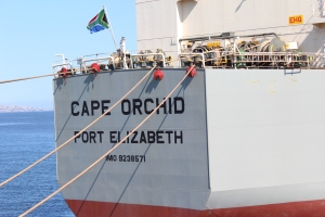 The Cape Orchid, a Vuka Marine cargo vessel that has made history by becoming the first to be registered under the South African flag since 1985. It is the first of two expected to lead in the campaign by the SA government, assisted by SAMSA to have as many trade vessels as possible registered in the country.