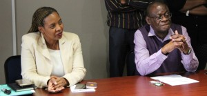 BIDDING FAREWELL: (From Left, seated) SAMSA Executive Head for Human Capital Ms Lesego Mashishi and Captain Francis listening attentively to tributes during the Captain's farewell event at SAMSA head office in Pretoria this week.