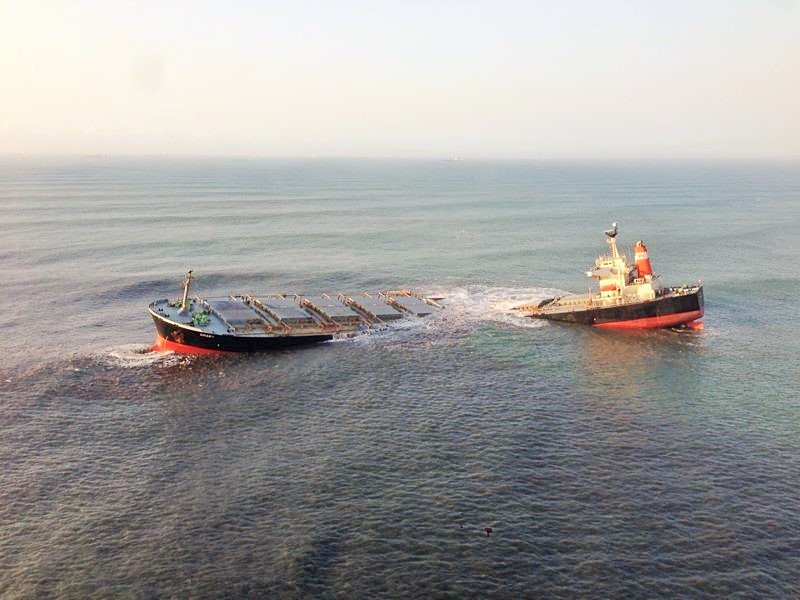SUCCESSFULLY RETRIEVED AND REMOVED: The wreck of coal cargo vessel, the MV Smart, owned by Alpha Marine shortly after its break up in the Indian Ocean off Richards Bay in August 2013