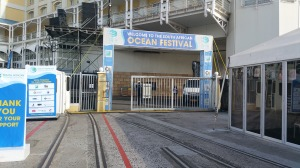 The entrance to SA Ocean Festival at the foot of Table View Hotel at the V&A Waterfront at the Cape Town harbour.