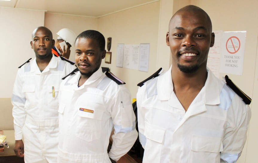 Three South African youths who recently boarded the country's registered vessel carrying the SA flag, the Cape Orchid and who will remain with it for hands on sea based training for six months, are (from Left) Samkelo Ndongeni (25) a deck cadet from Ngqushwa near King Williams Town, Eastern Cape; Gordon Sekatang (26),  an engine cadet from Nelspruit in Mpumalanga and Thembani Mazingi (24) also an engine cadet from Cofimvaba, Eastern Cape. They all are hoping to marine engineers at some point in the next 10 years