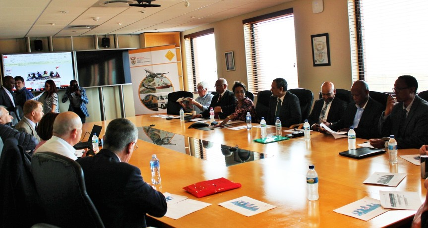 A round table robust discussion between maritime sector (oil and gas subsector) representatives, South Africa Department of Transport deputy Minister, Ms Sindisiwe Chikunga, business and civic society representatives duing the Presidential Imbizo Week event of Monday, looking at progress achieved in establishing port infrastructure for the oil and gas industry by Transnet's National Port Authority at the port of Saladanha on Monday