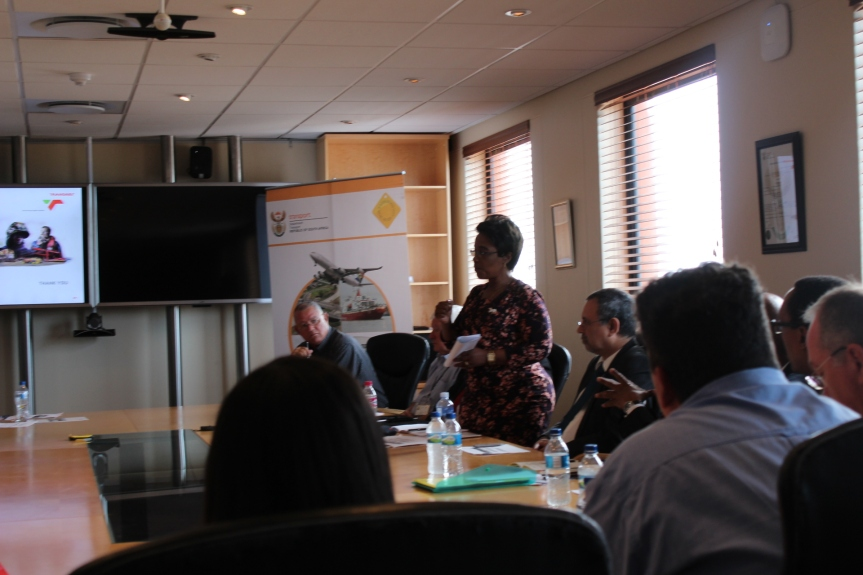 Deputy Minister of Transport, Ms Sindisiwe Chiikunga (standing) making remarks during the meeting
