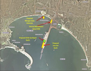 A composite map of the port of Saldanha reflecting the areas of the planned oil and gas infrastructure to be developed in the next few years