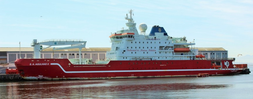 Docked at the port of Cape Town, the SA Agulhas II, South Africa's dedicated research vessel owned and operated by the Department of Environment Affairs (DEA). Photo: SAMSA