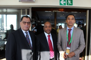 Operation Phakisa (Ocean Economy Progress Report: (Right) Nelson Mandela Metropolitan University (NMMU) Vice Chancellor, Prof Derrick Swartz with (From Left), Eastern Cape Premier Mr Phumulo Masaulle and Mandela Bay Mayor, Dr Danny Jordaan at the port of Port Elizabeth on Friday, 08 April 2016.