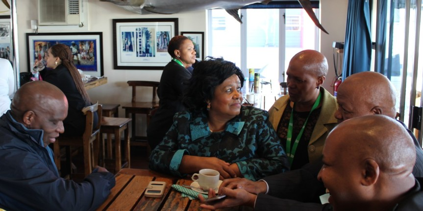 """SIYAQHUBA"" - On hand to deliver the Government's first public report on the progress achieved so far with Operation Phakisa (Ocean Economy) were Cabinet Ministers that included (From Left), Mr Senzeni Zokwana, Minister of Water Affairs, Foresty and Fisheries; Ms Edna Molewa, Minister of Environmental Affairs; (centre right), Mr Jeff Radebe, Minister in the Presidency) pictured here while waiting for their turn for interviews for a national television breakfast show in Port Elizabeth on Friday, 08 April 2016."