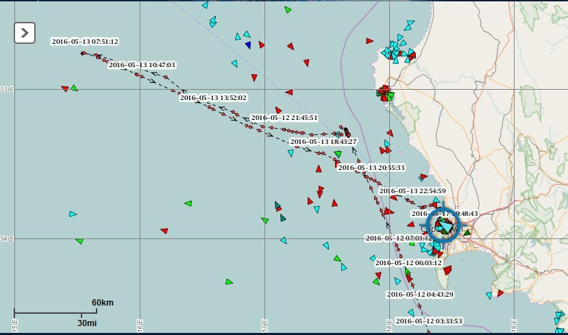 A SAMSA Centre for Sea Watch and Rescue image showing the location of the rest of the Chinese fishing vessels along the Namibian coast earlier this week