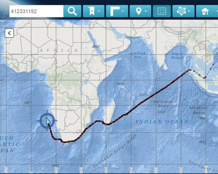 A SAMSA Centre for Sea Watch and Rescue tracking system image showing the actual route taken by the Chinese vessels since leaving China about two months ago.