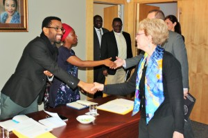Dr Jane Lubchenko (Left with a scarf) meeting members of the SAMSA management representatives at the start of the groups' meeting on Friday
