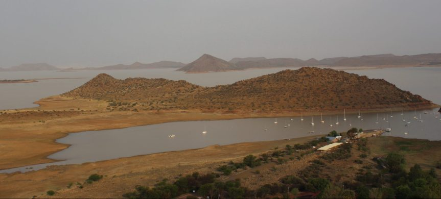 The Gariep Dam built from 1965 and opened in 1972 is South Africa's biggest, with a height of 88 meters, allowing it a holding capcity of 5,340 hm3 (megaliters)) on a surface area of more than 370 square kilometres (140 sq mi) when full. (Photo: SAMSA)