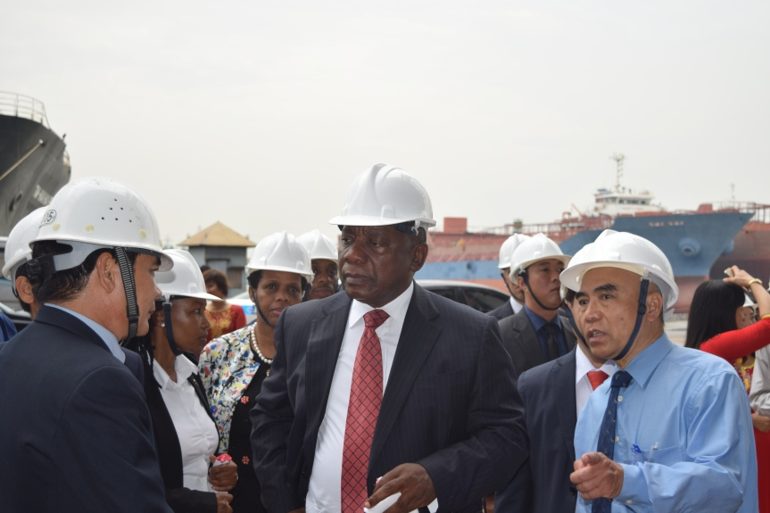 South Africa's Deputy President, Cyril Ramaphosa during a tour of the Vietnamese Vinashin Shipyard at Haiphong City's harbour on 4 October 2016 and during which he tagged along South Africa's four students in maritime studies based in the city.
