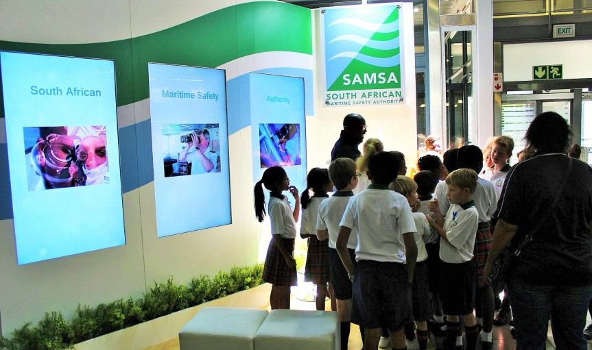 SHAPING MINDS: Primary school pupils who are part of scheduled 6000 learners in Gauteng attending this years Transport Week Career Expo in Johannesburg, being explained the maritime sector by a SAMSA representative