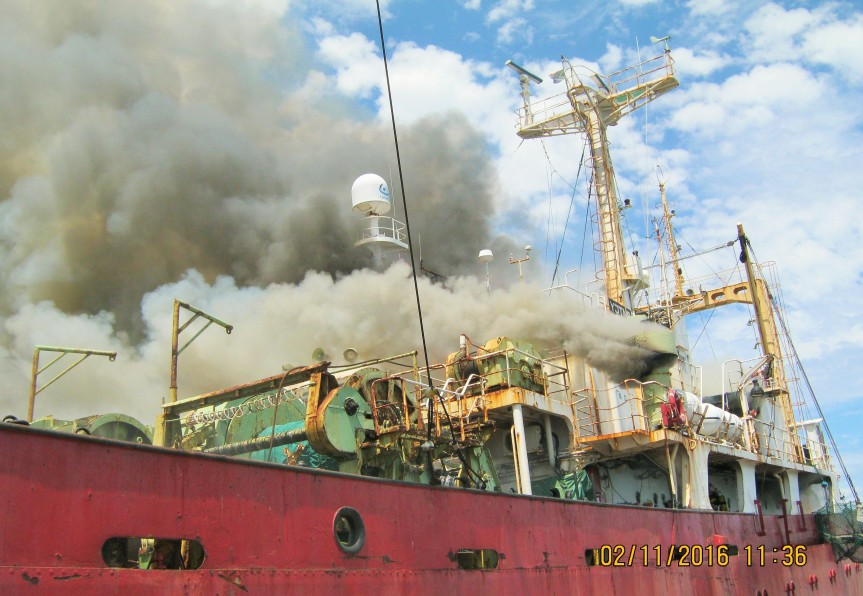The MFV Verano, a Russian registered fishing trawler that caught fire at the port of Cape Town last Wednesday is still burning, and although listing, it remains stable. Its crew was reportedly safely evacuated.