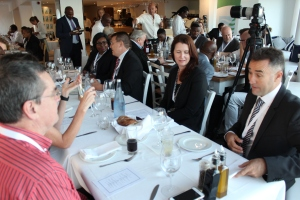 NETWORKING SESSION:  Mr Chris Sparg, MD of Dormac in conversation with fellow maritime sector industry guests during SAMSA's Networking dinner in Cape Town ahead of SONA 2017