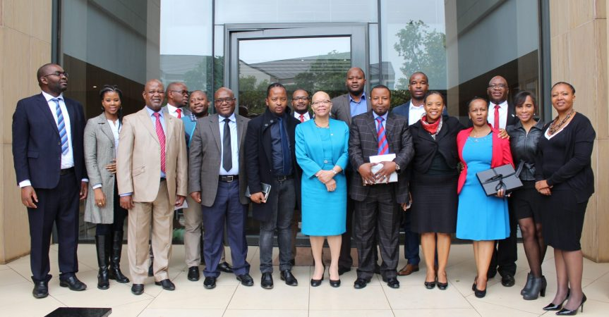 World Maritime University (WMU) President, Dr Cleopatra Doumbia-Henry (Centre in light blue outfit) with senior members of the South African Maritime Safety Authority as well about a dozen officials many of whom are former post graduate students of the Swedish university during a visit in Pretoria last week