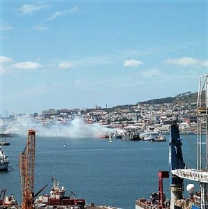 Heavy smoke could be seen from a quite a distance in Cape Town yesterday after a fishing vessel docked at a repair quay caught alight in the early hour of Saturday.