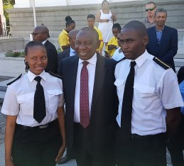 Two of the SA Agulhas 20 cadets that returned with the vessel earlier this year, Ayanda Miya and Mluleki Khwela with President Cyril Ramaphosa at the opening of 2018 installment of the sitting of South African Parliament in February