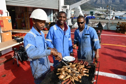 Seafarers on board SAMSA owned national cadet training vessel, the SA Agulhas taking time out to enjoy Day of the Seafarer 2018