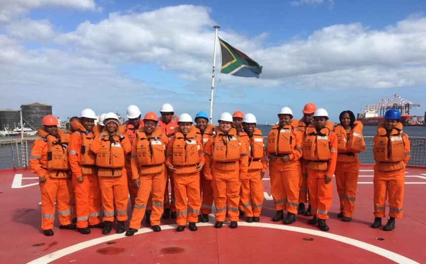 Cadets muster during safety drill onboard SAAG